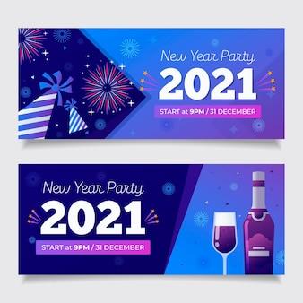 Banners planos fiesta año nuevo 2021