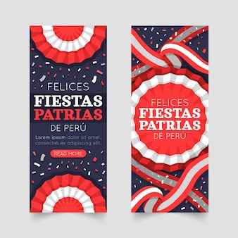Banners planos fiestas patrias de peru.