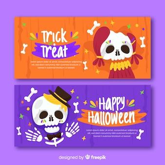 Banners planos de halloween del día de muertos