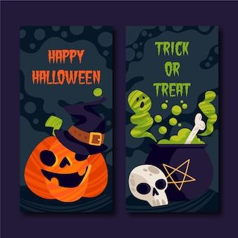 Banners planos de halloween