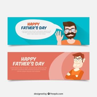Banners planos con hombre orgullos para el día del padre