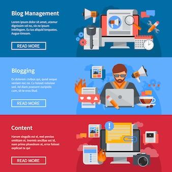 Banners planos horizontales de blogging y gestión de blog con blogger compartiendo contenido