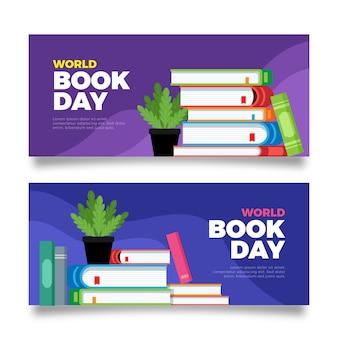 Banners planos horizontales del día mundial del libro