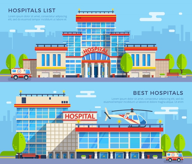Banners planos de hospital