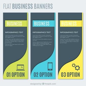 Banners planos infográficos de negocios