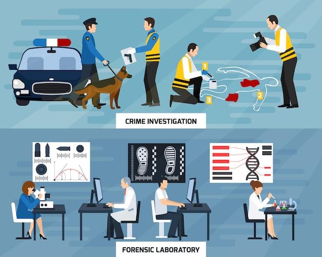 Banners planos de investigación del crimen
