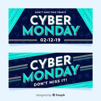 Banners planos de lunes cibernético en azul degradado