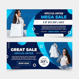 Banners planos de mega ventas con foto.