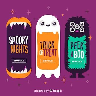 Banners planos de monstruos lindos de halloween