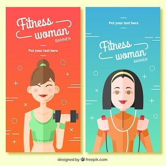 Banners planos de mujeres deportistas