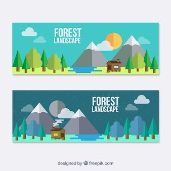 Banners planos de paisaje con una bonita cabaña
