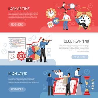 Banners planos de planificación