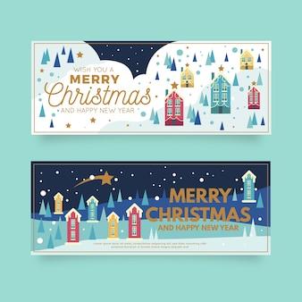 Banners planos de pueblo de navidad