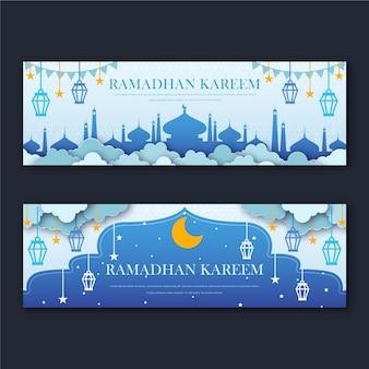 Banners planos de ramadán