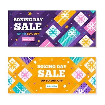 Banners planos de rebajas del día del boxeo