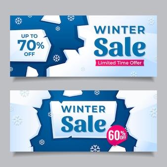 Banners planos de rebajas de invierno
