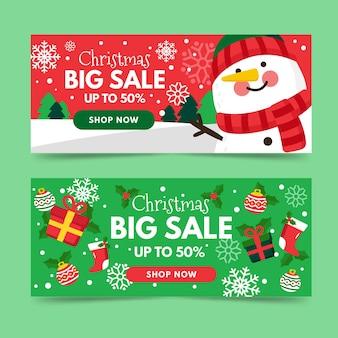 Banners planos de rebajas de navidad