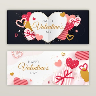 Banners planos de rebajas de san valentín