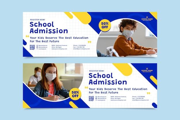 Banners planos de regreso a la escuela con foto vector gratuito