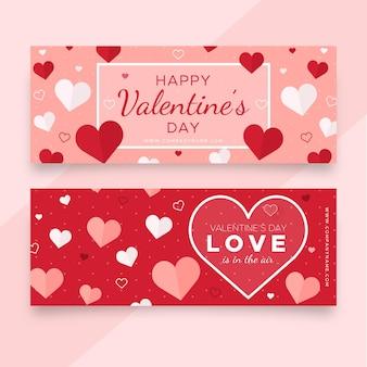 Banners planos de san valentín con corazones