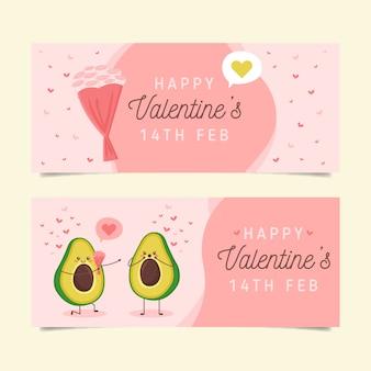 Banners planos de san valentín