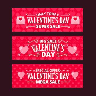 Banners planos de venta del día de san valentín