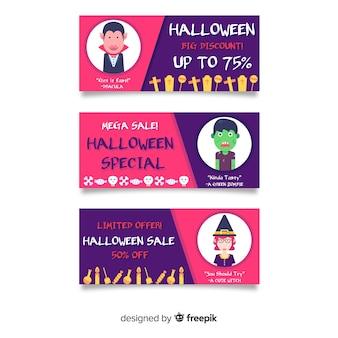Banners planos de venta de halloween con descuentos