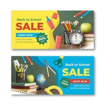 Banners planos de venta horizontal de regreso a la escuela con foto