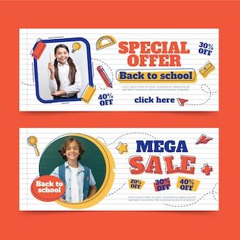 Banners planos de venta de regreso a la escuela con foto
