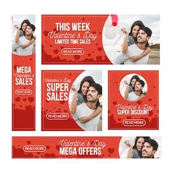 Banners planos de venta de san valentín con mega ofertas