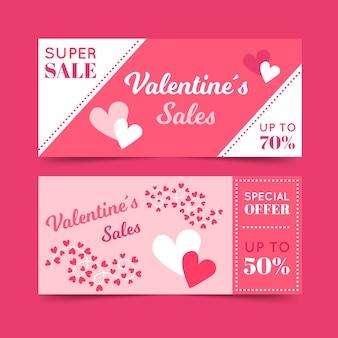 Banners planos de venta de san valentín