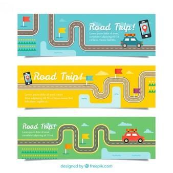 Banners planos de viaje con carreteras y coches