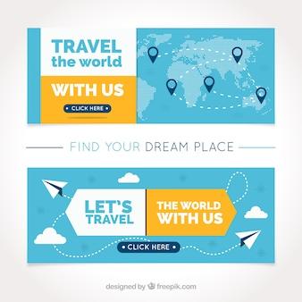 Banners planos de viaje con detalles amarillos