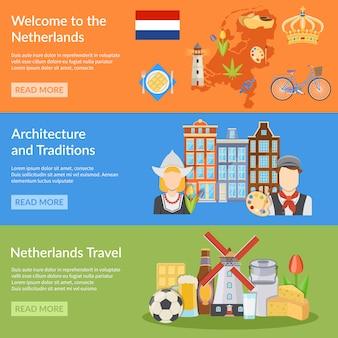 Banners planos de viaje de holanda