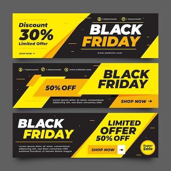 Banners planos de viernes negro