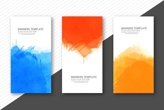 Banners de plantilla colorida acuarela suave set vector diseño