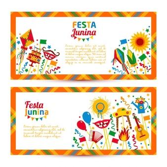 Banners de plantillas de la festa junina