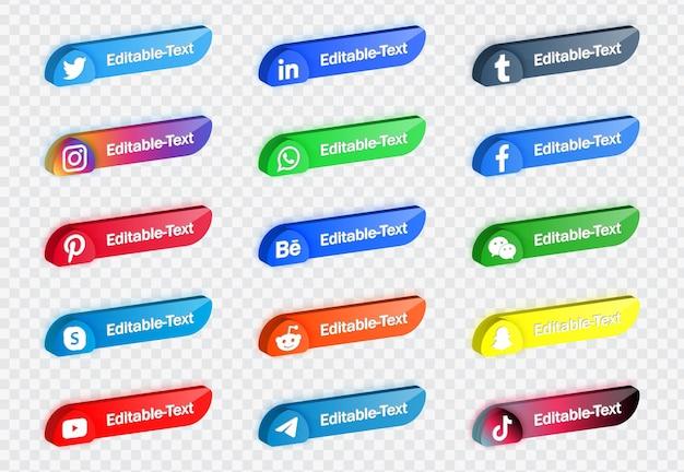 Banners de plataforma de red de logotipos de iconos de redes sociales modernos