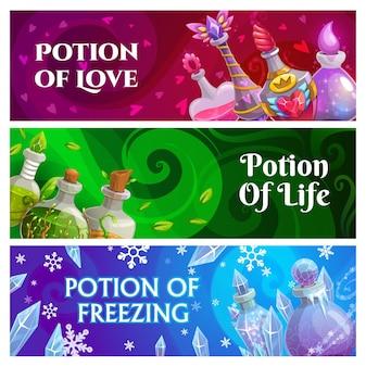 Banners de pociones mágicas de bruja o hechicero con botellas de vidrio de cuento de hadas
