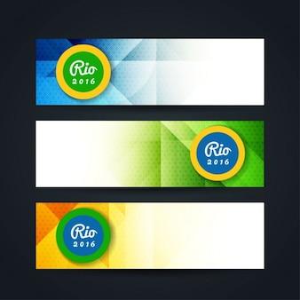 Banners poligonales de colores de brasil