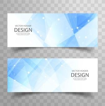 Banners poligonales modernos azules