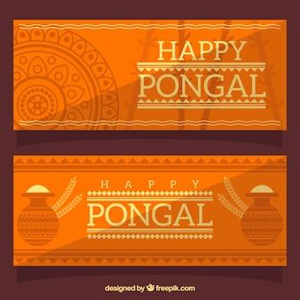 Banners de pongal naranjas fantásticos en diseño plano