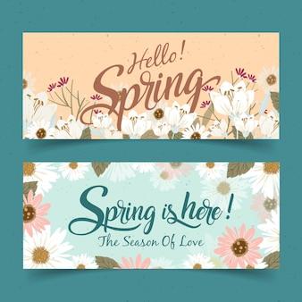 Banners de primavera vintage