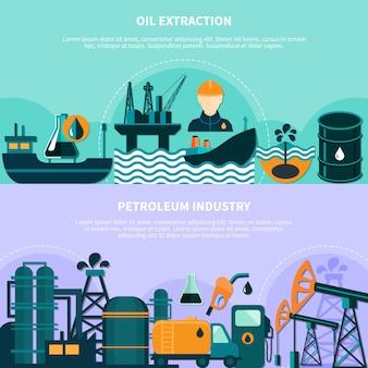 Banners de producción de petróleo en alta mar