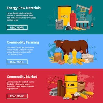 Banners de productos básicos con materias primas energéticas, productos básicos, agricultura y mercado.
