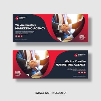 Banners profesionales de negocios rojos con espacio de imagen