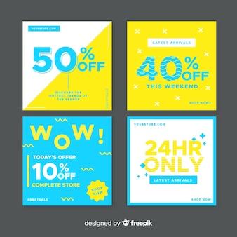 Banners de promoción de rebajas para redes sociales