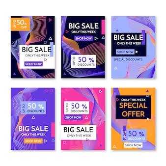 Banners de promoción de venta abstracta