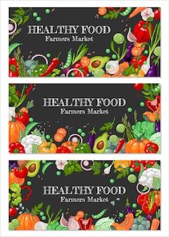 Banners promocionales para el mercado de agricultores.