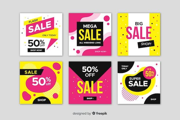 Banners promocionales de rebajas para redes sociales